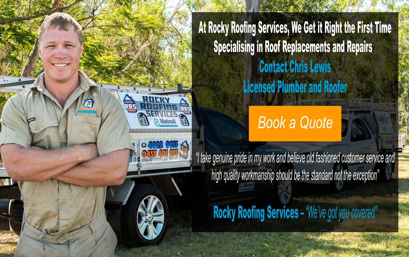 Roofing Rockhampton Chris Lewis from Rocky Roofing Service in front of trade vehicle